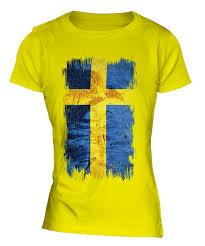 Sweden Flag Image Sweden Grunge Flag Ladies T Shirt Tee Top Sverige Football Swedish