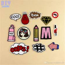 cool letters pencil iron on patches embroidered stickers