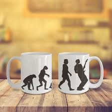 guitar evolution coffee mug for cool musician or music cofee lover