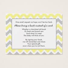 Bring Book Instead Of Card To Baby Shower Book Baby Shower Insert Card Yellow Gray Chevron Zazzle Com