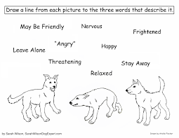dog body language coloring page for children