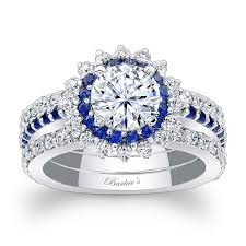 Diamond Sapphire Wedding Ring by Barkev U0027s Blue Sapphire Halo Bridal Set 7969s2bs