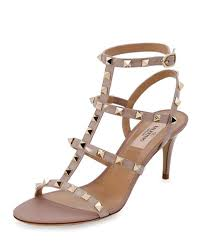 wedding shoes neiman rockstud strass crisscross 60mm sandal poudre neiman