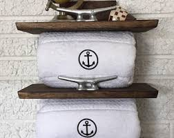 nautical towel rack coastal storage beach decor bathroom