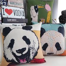 decorative pillows panda promotion shop for promotional decorative modern hand drawn cartoon pillow panda rabbit cushion linen pillowcase sofa cushions home decorative pillows
