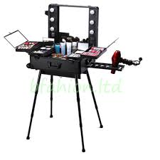 professional rolling studio makeup artist cosmetic case lighted