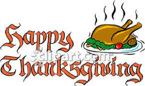 words happy thanksgiving with a cooked turkey royalty free clipart