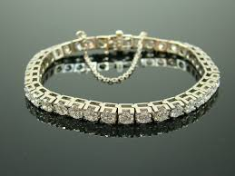 chain diamond bracelet images 10 ct diamond tennis bracelet set in 14k white gold with safety jpg