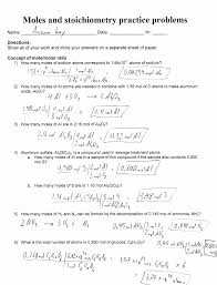 Stoichiometry Practice Worksheet Answer Key Moles Stoichiometry Practice Problems Answer Key Documents