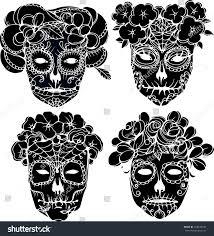 hand drawing vector black skulls silhouette stock vector 318478334