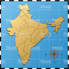 Indian Map India Map With Compass Rose Stock Vector Art 165740413 Istock