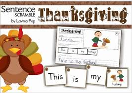 thanksgiving sentence scramble with cut and paste worksheets by