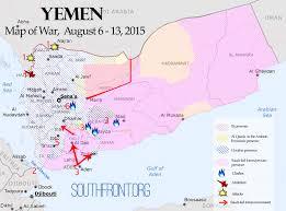 Arabian Peninsula Map Map Of War August 6 14 2015 Saudi Led Forces Advance On Sana U0027a