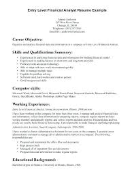 sample resume for financial analyst entry level entry level