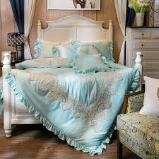 Princess Duvet Cover Aliexpress Com Buy Blue French Lace Bedding Set Queen King 100