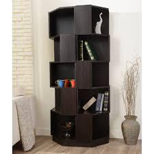 furniture of america laina geometric espresso 5 shelf corner