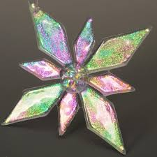 beautiful handmade fused glass ornament cut and