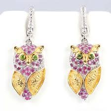 owl earrings sterling silver peridot and ruby owl earrings ebth