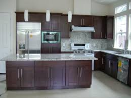 kitchen refacing cabinets in brown with tile backsplash also