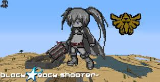black rock shooter minecraft pixel art by bogan666 on deviantart