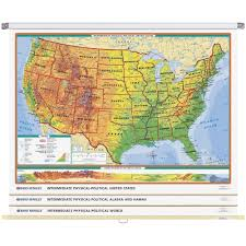 Us Map Images World U0026 U S Intermediate Physical Political 3 Wall Map Combo