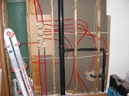 bathroom remodel overview of pex plumbing in the home with