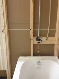 new installation of bathtub and shower valve callaway plumbing