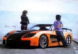 drift cars drawings tokyo drift rx7 veilside with han u0026 gisele