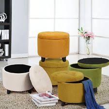 adeco round storage ottoman tufted yellow pouf lift top footstool