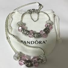 pandora style charm necklace images Pink morano necklace bracelet set pandora style jpg