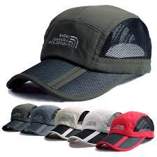running hat with lights men 2015 summer outdoor hiking breathable folding mesh running cap