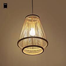 Shade Pendant Light Bamboo Wicker Rattan Cage Shade Pendant Light Fixture Asian