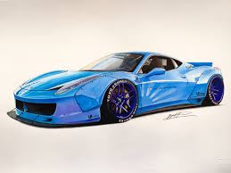 ferrari drawing ferrari 458 lb in baby blue drawing supercar by filo pinterest