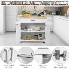 large white kitchen storage cabinet costway rolling kitchen island cart storage cabinet w towel