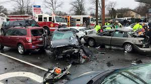 lexus service massapequa 9 taken to hospital after 10 car crash in north amityville police