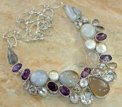 silver necklace with gemstone images Fashion gemstone necklaces for women jwartgallery jpg