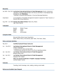 Sample Resume For Hotel And Restaurant Management Graduate by Liliana Beltran Resume 2014