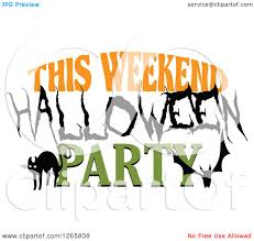 kids halloween party clipart clipart of a black cat bat and this weekend halloween party text