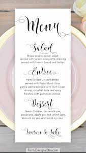 wedding menu cards calligraphy menu wedding menu printable menu cards script menu