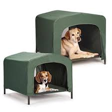 Covered Dog Bed Portable Outdoor Dog House Elevated Covered Doggy Cot Water