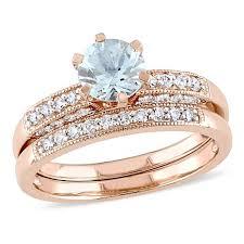 ring set 1 09ctw aquamarine and diamond 10k gold and pavé 2