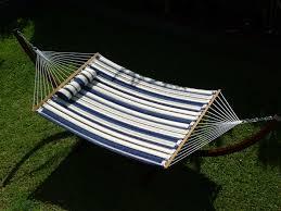 luxurious wooden arc hammock blue white striped soft hammock bed