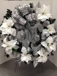 White Christmas Door Decorations by Black Tinsel Wreath Black U0026 White Christmas By Christian Rebollo