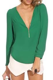green chiffon blouse green sleeve zippered v neck chiffon blouse beautifulhalo com