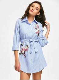 floral patched belted striped shirt dress light blue casual