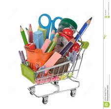 office supplies in shopping cart stock photo image