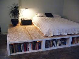 Diy Bed Platform Look Diy Platform Bed With Storage Apartment Therapy