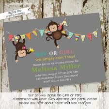 monkey baby shower invitation gender neutral gender reveal couples