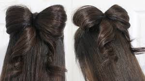 hair bow with hair hair bow tutorial hairstyle half updo for medium hair