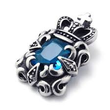 blue zircon jewelry necklace images Titanium pendant with blue zircon 21340 titanium jewelry shop jpg
